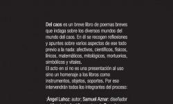 <i>24 de octubre</i><b><br>Del Caos </b><br>Ángel Lahoz <br>POESÍA-PRESENTACIÓN DE LIBRO